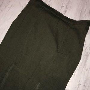 olive green slit maxi skirt